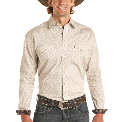 Panhandle Men's Floral Ivory Snap Shirt
