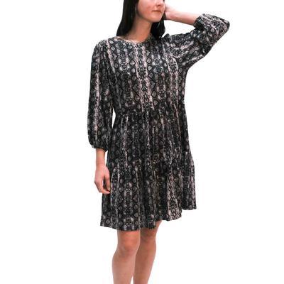 Joy Joy Women's Tiered Babydoll Snakeprint Dress