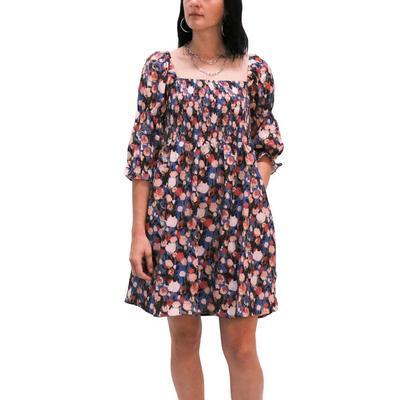 Joy Joy Women's Blue Floral Smocked Dress