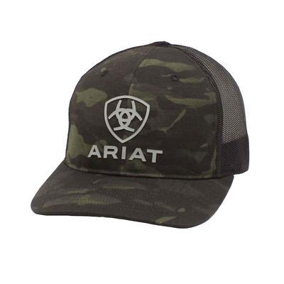 Ariat Men's Black Rubber Logo Camo Cap