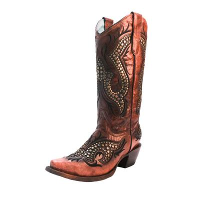 Corral Women's Wine Overlay and Embroidered Western Boots