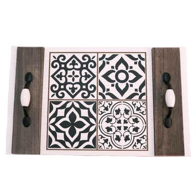 Black And White Wood Serving Tray