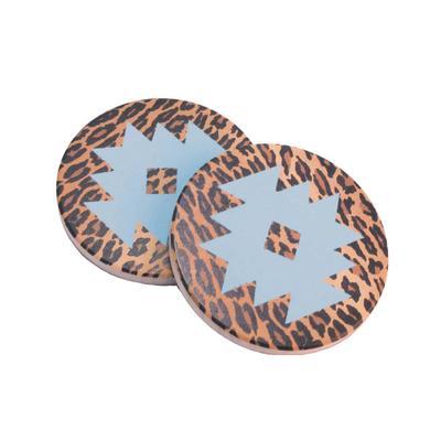 Leopard Print Aztec Car Coasters