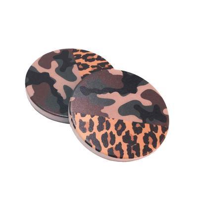 Camo and Leopard Print Car Coasters