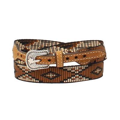 M&F Western Youth 3/4-3/8 Brown Ribbon Diamond Hatband