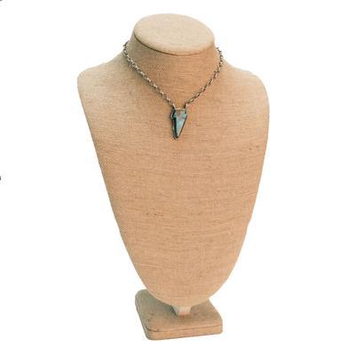 Women's Sterling Silver Kingman Turquoise Lightning Bolt Necklace