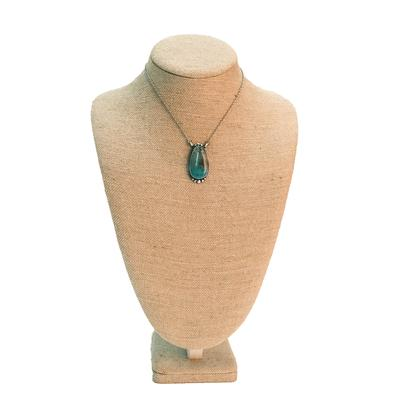Women's Sterling Silver Tibetan Turquoise Pendant Necklace