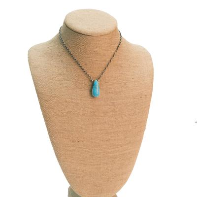 Women's Sterling Silver Kingman Turquoise Drop Pendant Necklace