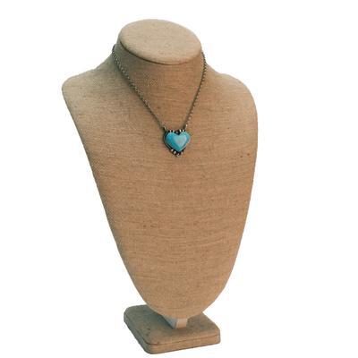 Women's Sterling Silver Kingman Turquoise Heart Pendant Necklace