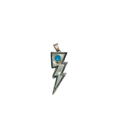 Sterling Silver Turquoise Stone Lightening Bolt Pendant