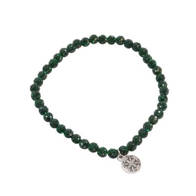 Rustic Cuff Women's Emerald Shamballa Beaded Bracelet