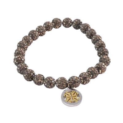 Rustic Cuff Women's Pewter Shamballa Beaded Bracelet
