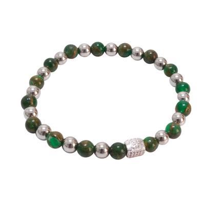 Rustic Cuff Women's Emerald Stone Beaded Bracelet