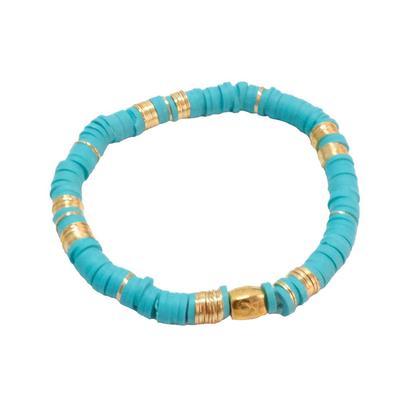 Rustic Cuff Women's Turquoise Disk Beaded Bracelet
