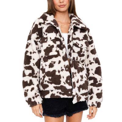 Women's Animal Print Teddy Button Jacket