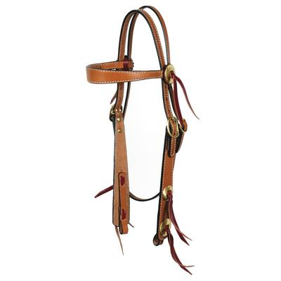 Circle Y Flared Leather Browband Headstall With Brass Concho Trim