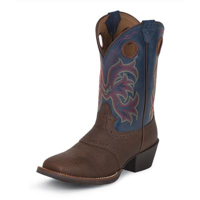 Justin Dark Brown Rawhide With Perfed Saddle Vamp Youth Cowboy Boots