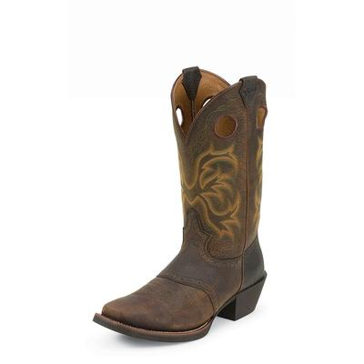 Justin Dark Brown Rawhide with Saddle Cowboy Boots