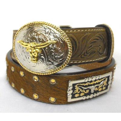 3d Belt Co.Hair- On Longhorn Concho Youth Belt