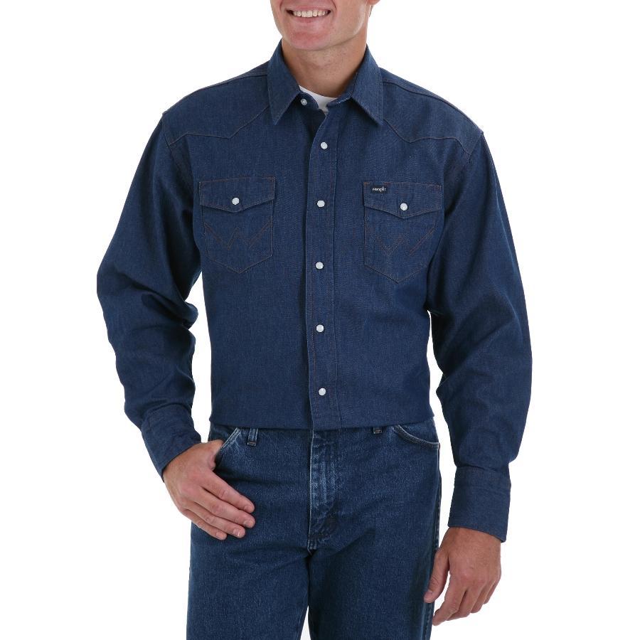 Wrangler Mens Long Sleeve Snap Work Shirt