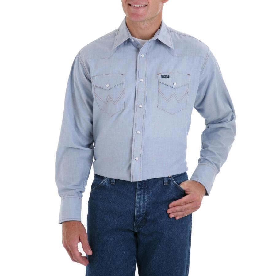 Wrangler Mens Long Sleeve Solid Work Shirt