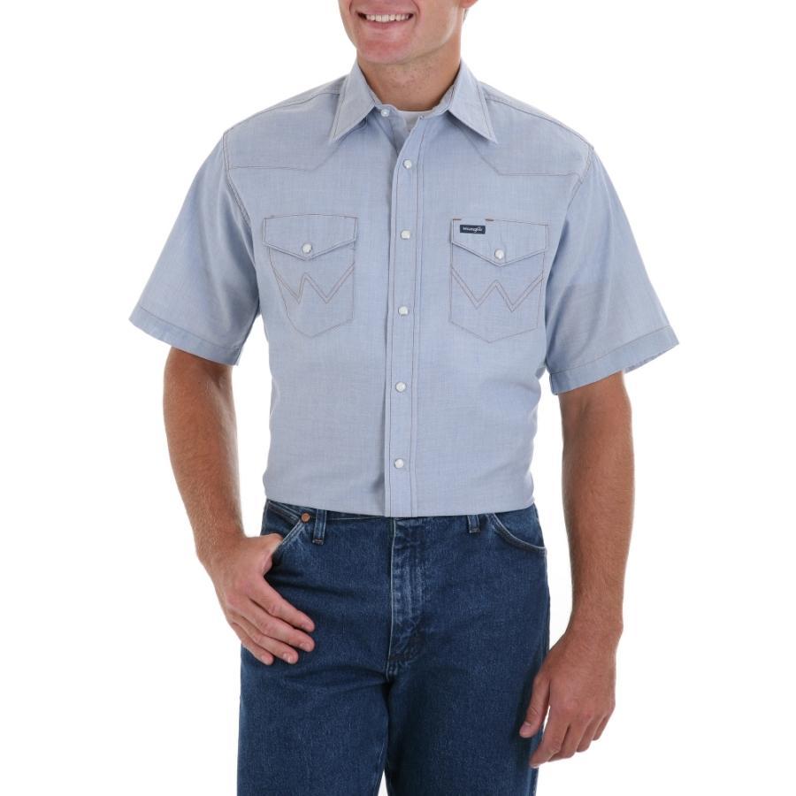 wrangler mens chambray short sleeve work shirt