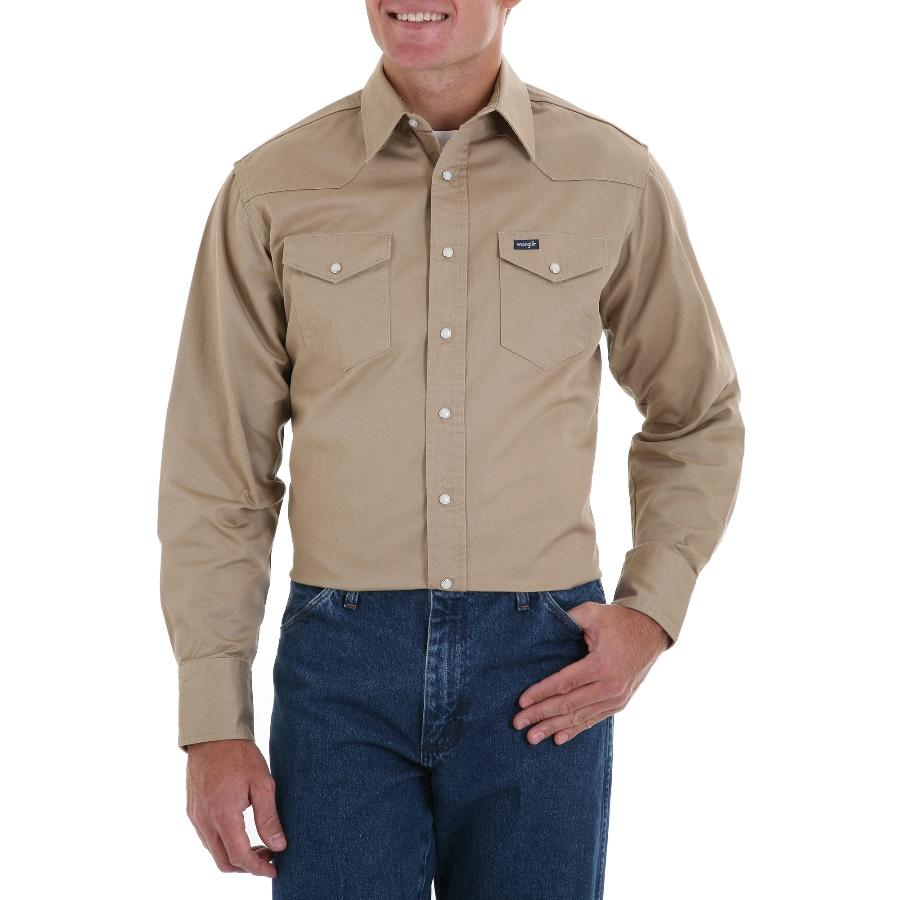 Wrangler cowboy cut mens snap work shirt for Cut shirts for men
