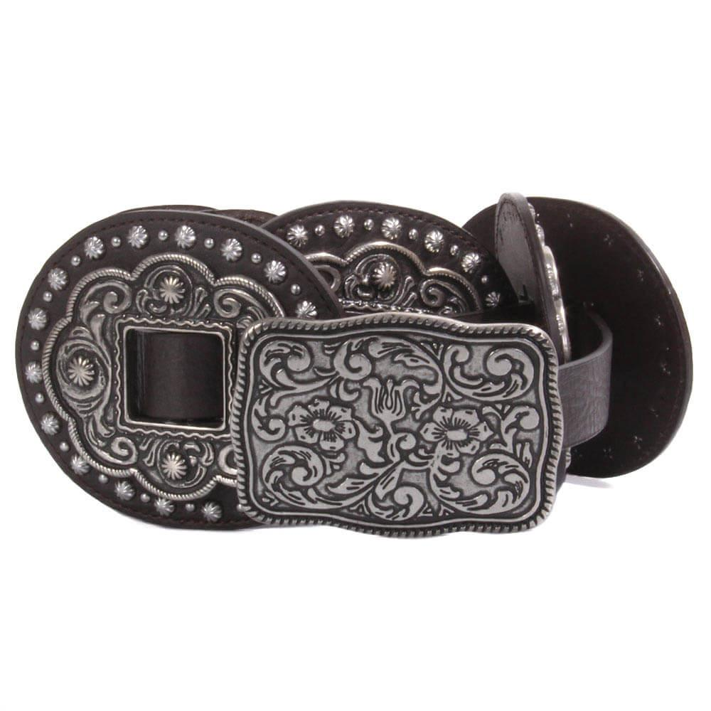 Roper Womens Leather Floral Concho Belt