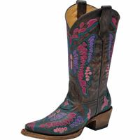 Corral Kids Black/Cognac Multicolor Butterfly Cowgirl Boots