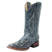 Corral Black Python Overlay Cowgirl Boots