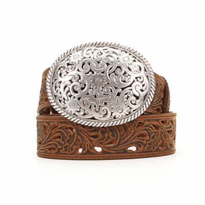 Tony Lama Womens Brown Filigree Belt