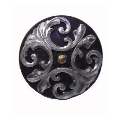Antique Finish Concho With Silver Swirl Design