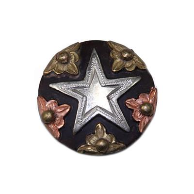 Silver Star Concho with Brass & Copper Floral Border