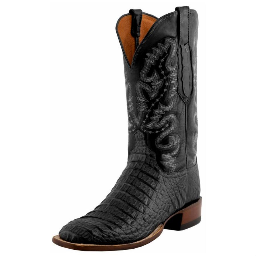 d60870603eb Lucchese Mens Black Hornback Caiman Cowboy Boots