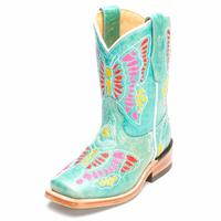 Corral Kids Turquoise Multicolor Butterfly Cowgirl Boots