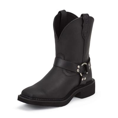 Justin Black Crazy Horse Harness Cowgirl Boots