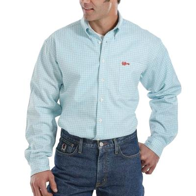 Cinch Men's Plaid Turquoise FR Twill Work Shirt