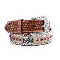 Nocona Mens Red Crystal Concho Belt