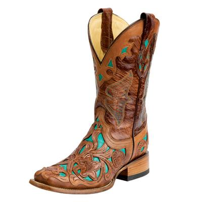 Corral Tan And Turquoise Leather Cowgirl Boots