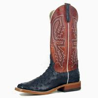 Anderson Bean Black Full Quill Ostrich Rust Lava Cowboy Boots
