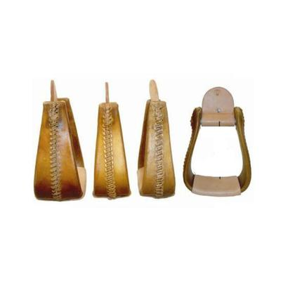 Chino Tack Rawhide Covered Wooden Roper Stirrups