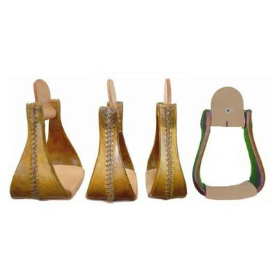 Chino Tack Wooden Rawhide Covered Bell Stirrups