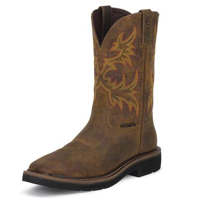 Justin Rugged Tan Cowhide Mens Work Boots