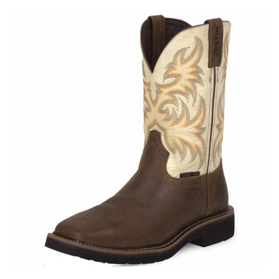 Justin Copper Kettle Cowhide Safety Toe Work Boots