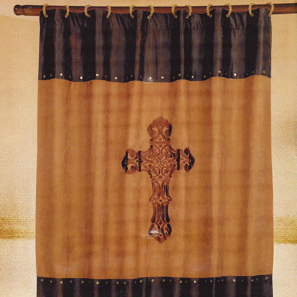 Embroidered Cross Shower Curtain Set Item # WS3182SC