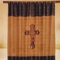 Embroidered Cross Shower Curtain Set