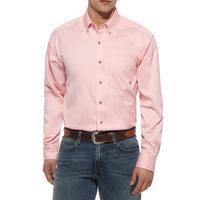 Ariat Mens Solid Pink Long Sleeve Button Shirt