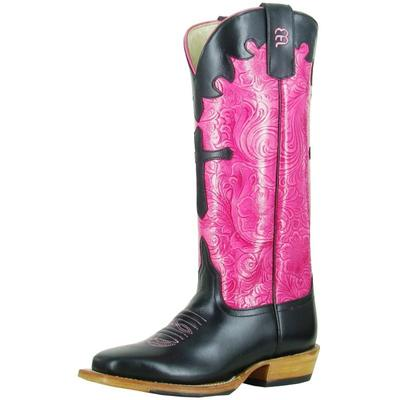 Anderson Bean Kids Black/Pink Embossed Cowgirl Boots
