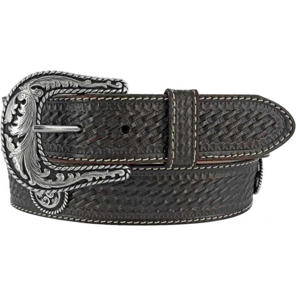 justin mens black basketweave leather belt d d