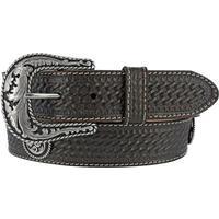 Justin Mens Black Basketweave Leather Belt